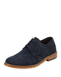 Kenneth Cole Men's Suede Wing Tip Oxford Navy