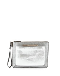 Time's Arrow Mini Ishi Metallic Leather Wristlet Steel