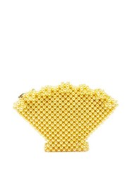 Shrimps Shell Faux Pearl Purse Yellow