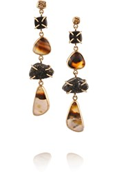 Melissa Joy Manning 14 Karat Gold And Sterling Silver Agate And Druzy Earrings Metallic
