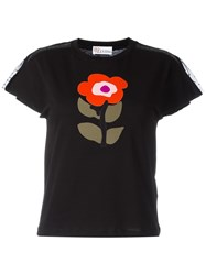 Red Valentino Floral Print T Shirt Black