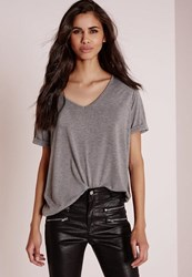 Missguided Petite Boyfriend V Neck T Shirt Grey