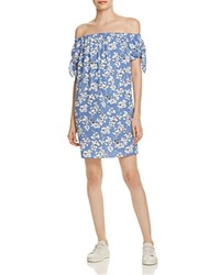 Aqua Floral Off The Shoulder Dress 100 Exclusive Blue