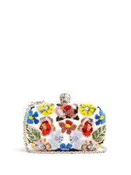 Alexander Mcqueen Floral Embellished Leather Box Clutch White Multi