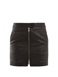 Givenchy Textured Leather Mini Skirt Black