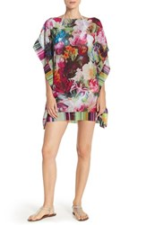 Women's Ted Baker London 'Imalita' Floral Print Cover Up Tunic Fuchsia