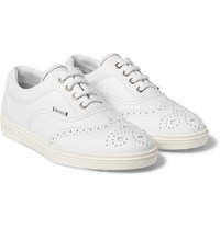 Jimmy Choo Leather Wingtip Sneakers White