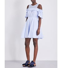 Sandro Ruffled Fit And Flare Cotton Dress Blue