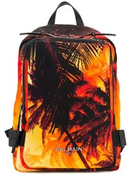 Balmain Palm Tree Printed Backpack Orange