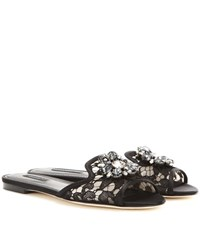 Dolce And Gabbana Bianca Embellished Slip On Sandals Black