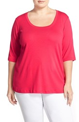Plus Size Women's Sejour Elbow Sleeve Scoop Neck Tee Red Barberry