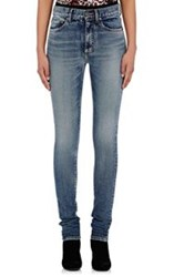 Saint Laurent Women's Mid Rise Skinny Jeans Blue
