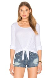 Splendid Heathered Thermal Front Tie Top White