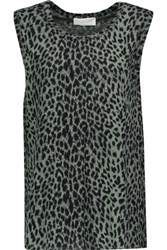 Zimmermann Henna Printed Linen And Cotton Blend Tank Army Green