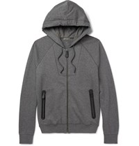 Bottega Veneta Slim Fit Fleece Back Cotton And Wool Blend Jersey Zip Up Hoodie Gray