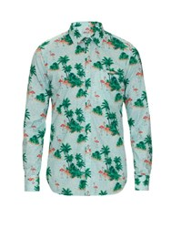 Bevilacqua Floral Ever Flamingo Print Cotton Shirt Blue Multi
