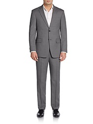 Tommy Hilfiger Slim Fit Crosshatch Wool Suit Grey