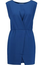 Halston Heritage Wrap Effect Crepe Mini Dress Bright Blue