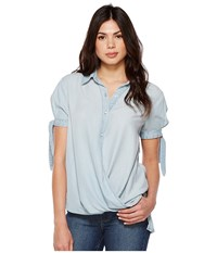 Blank Nyc Denim Collard Shirt With Drape Detail In Oh Behave Oh Behave Clothing Blue