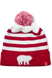 Perfect Moment Pompom Embellished Merino Wool Blend Beanie Red