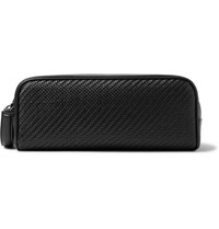 Ermenegildo Zegna Pelle Tessuta Leather And Nylon Wash Bag Black