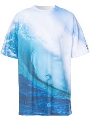 Cynthia Rowley Big Wave Print T Shirt Blue