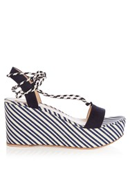 Gianvito Rossi Striped Wedge Sandals Navy Stripe