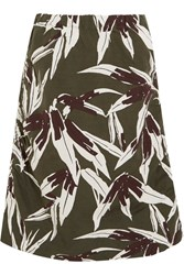 Marni Ruched Printed Cotton And Linen Blend Skirt Green