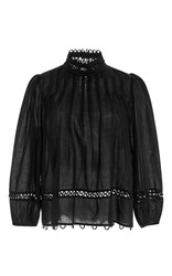 Apiece Apart Tula Sheer Blouse Black
