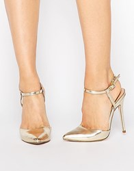 London Rebel Ankle Strap Heeled Shoes Gold