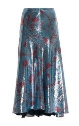 Johanna Ortiz Lucy In The Sky Sequin Skirt Blue