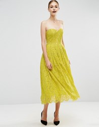 Asos Sweetheart Lace Bandeau Midi Dress Lime Green