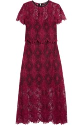 Catherine Deane Giovanna Layered Guipure Lace Maxi Dress Burgundy