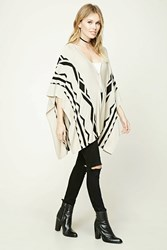 Forever 21 Contemporary Geo Print Poncho Beige Black