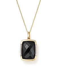 Bloomingdale's Onyx Pendant Necklace With Diamonds In 14K Yellow Gold 18 Black White