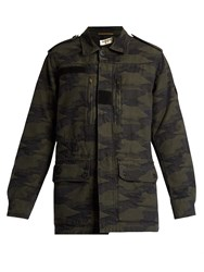 Saint Laurent Camouflage Jacquard Cotton Jacket Khaki