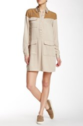 Shades Of Grey Utility Shift Dress Beige