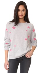 Chinti And Parker Slouchy Star Cashmere Sweater Silver Marl Pink