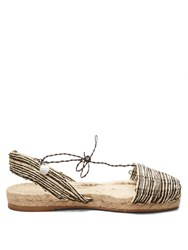 Ball Pages Home Woven Hemp And Leather Espadrilles Black Cream