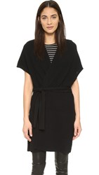 Vince Texture Stitch Sleeveless Belted Cardigan Black