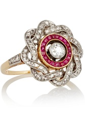 Fred Leighton Edwardian Gold Diamond And Ruby Ring
