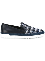 Tod's Sequin Embellished Slip On Sneakers Blue