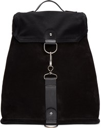Maison Martin Margiela Black Suede And Canvas Backpack