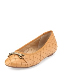Neiman Marcus Suzy Quilted Nappa Ballet Flat Camel