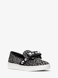 Michael Kors Val Studded Leopard Calf Hair Slip On Sneaker White