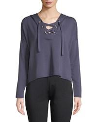 Beyond Yoga Over Tied Lace Up Cropped Pullover Sweater Blue