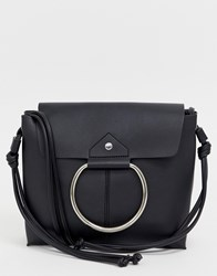 Melie Bianco Leather Fold Over Shoulder Bag With Hardware Detail Black
