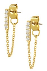 14Th And Union Pave Bar And Chain Drape Earrings Metallic