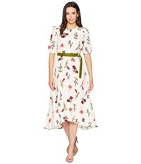 Donna Morgan Printed Maxi With Smocking Detail Ivory Merlot Multi Dress White