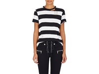 Amiri Women's Striped Cotton Cashmere Distressed T Shirt Black White No Color